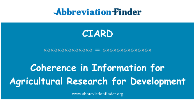 CIARD: Coherence in Information for Agricultural Research for Development