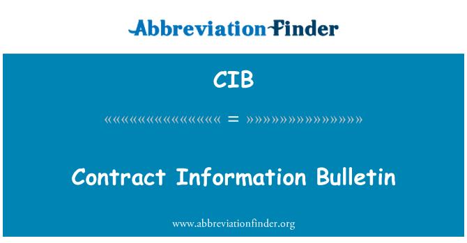 CIB: Contract Information Bulletin