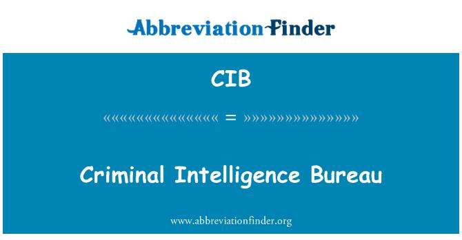 CIB: Criminal Intelligence Bureau
