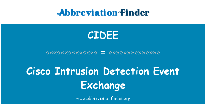 CIDEE: Cisco Intrusion Detection Event Exchange