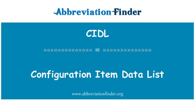CIDL: Lista de datos de elementos de configuración