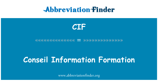 CIF: Conseil Information Formation