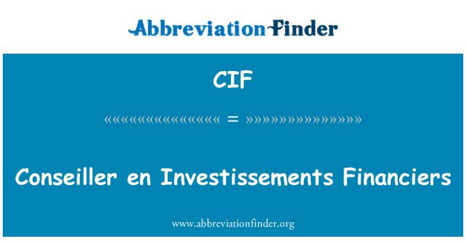 CIF: Conseiller en Investissements Financiers