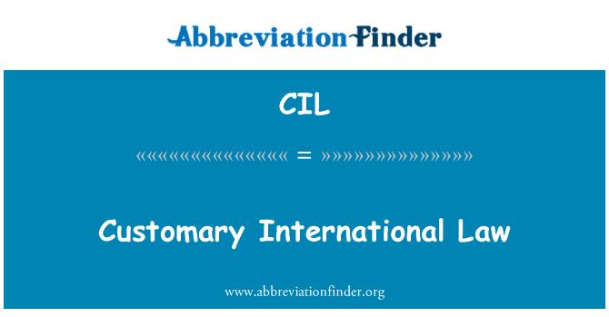 CIL: Customary International Law