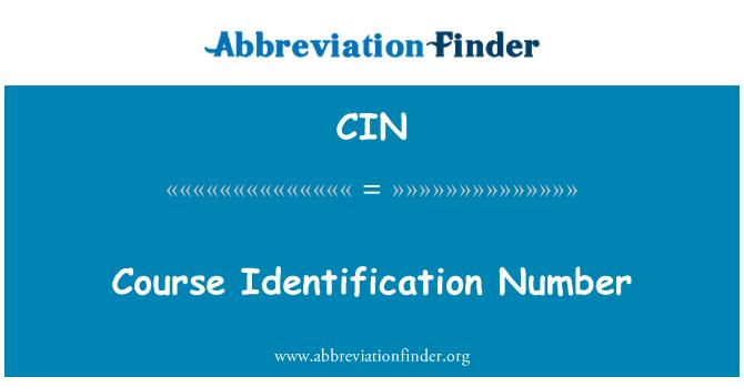 CIN: Course Identification Number