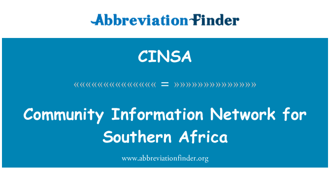 CINSA: Community Information Network for Southern Africa