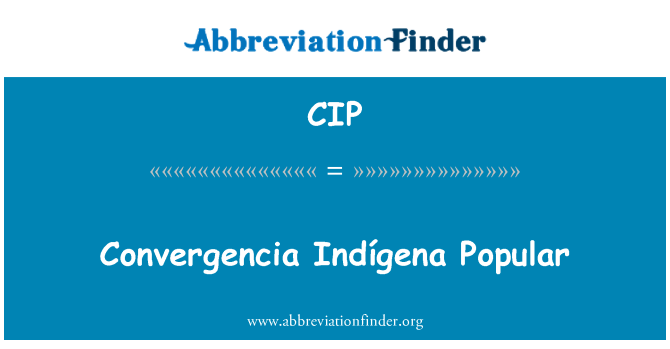 CIP: Convergencia Indígena Popular