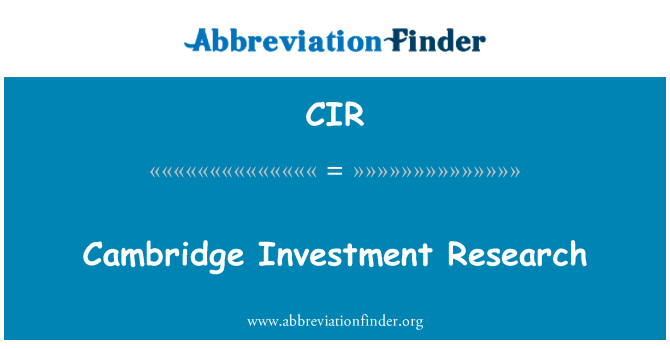 CIR: Cambridge Investment Research