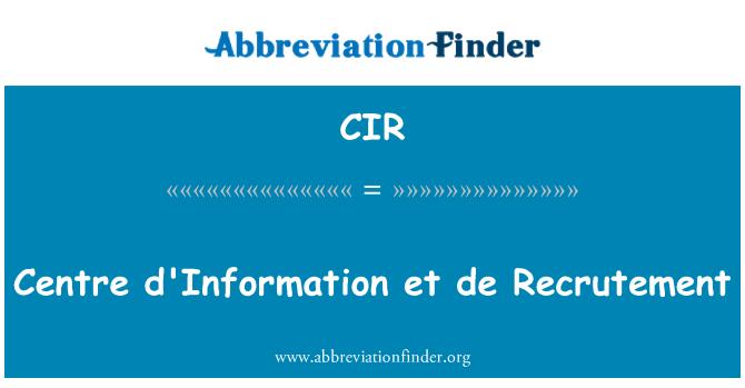 CIR: Centre d'Information et de Recrutement