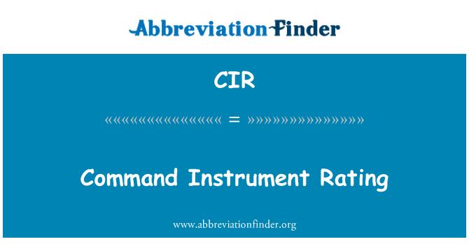 CIR: Command Instrument Rating