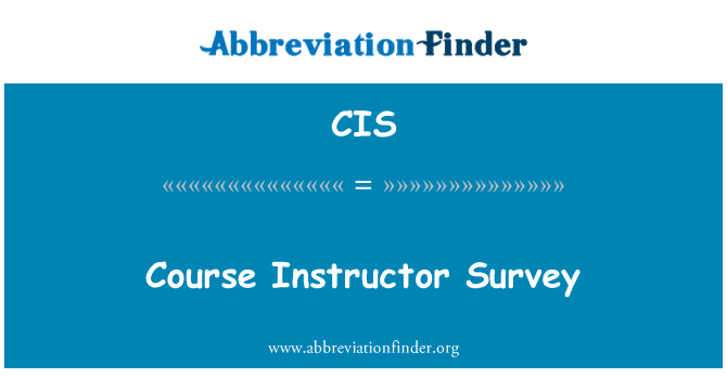 CIS: Course Instructor Survey