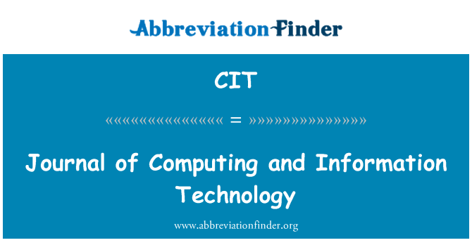 CIT: Journal of Computing and Information Technology