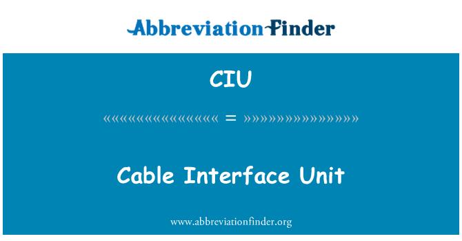 CIU: Cable Interface Unit