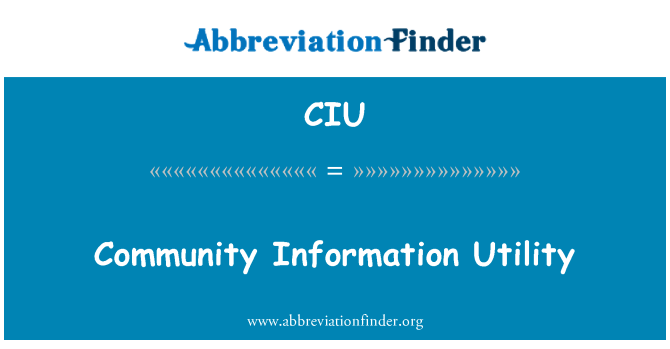 CIU: Community Information Utility