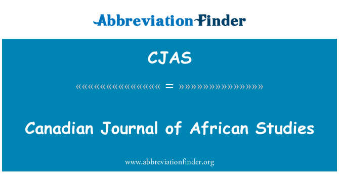 CJAS: Canadian Journal of African Studies