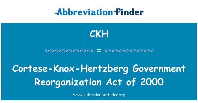 CKH: Cortese-Knox-Hertzberg Government Reorganization Act of 2000