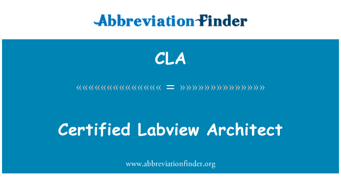 CLA: Certified Labview Architect