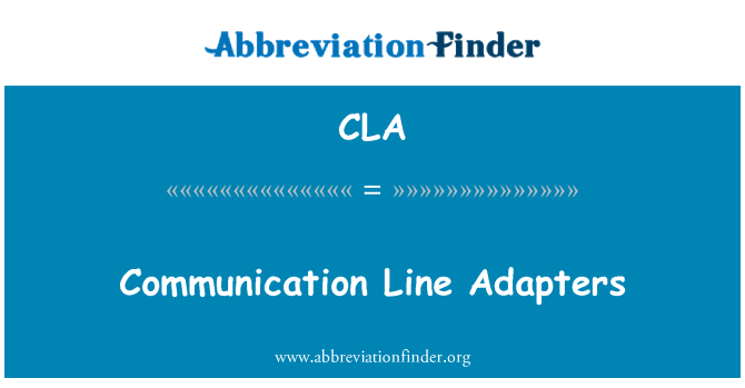 CLA: Communication Line Adapters