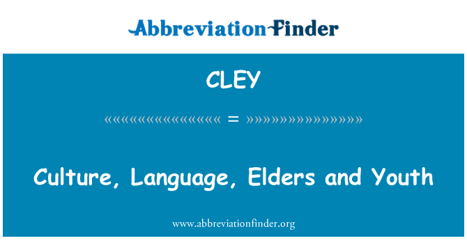 CLEY: Culture, Language, Elders and Youth