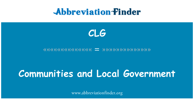 CLG: Communities and Local Government