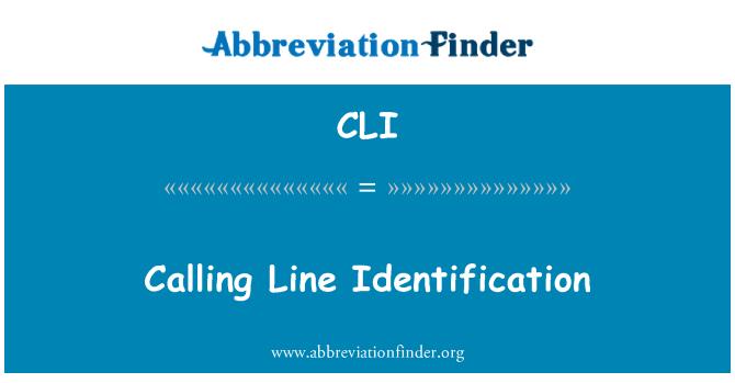 CLI: Calling Line Identification
