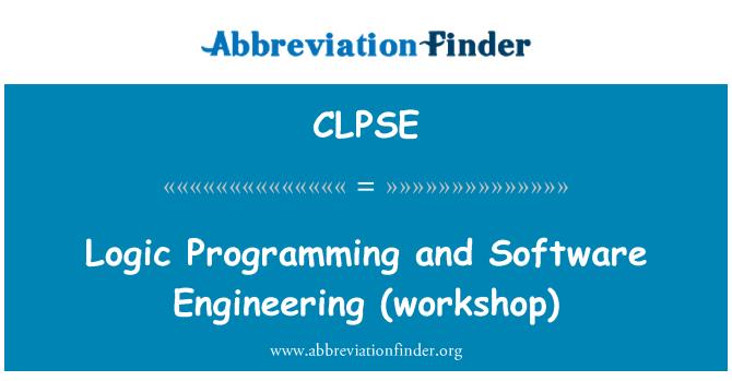 CLPSE: Logic Programming and Software Engineering (workshop)