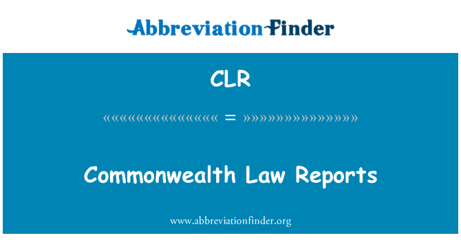 CLR: Commonwealth Law Reports