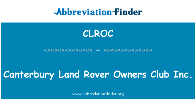 CLROC: Canterbury Land Rover Owners Club Inc.