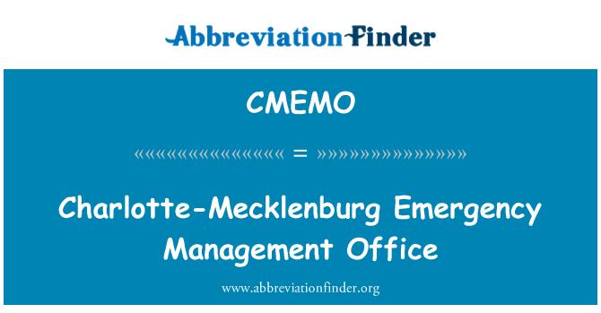 CMEMO: Charlotte-Mecklenburg Emergency Management Office