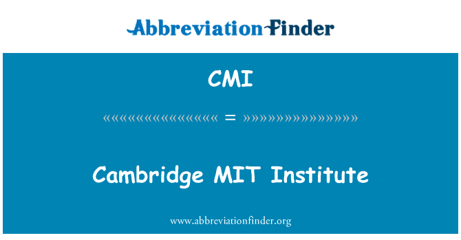 CMI: Cambridge MIT Institute
