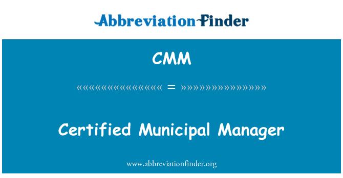 CMM: Certified Municipal Manager