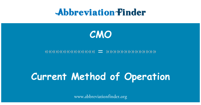 CMO: Current Method of Operation