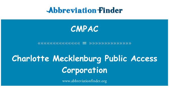 CMPAC: Charlotte Mecklenburg Public Access Corporation