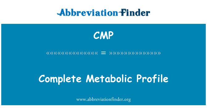 CMP: Complete Metabolic Profile