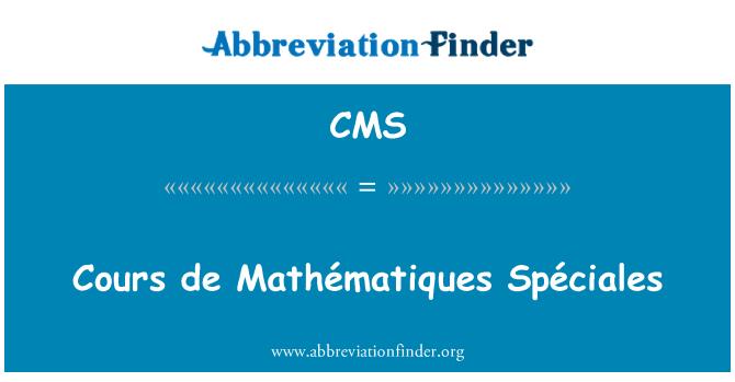 CMS: De Cours Mathématiques Spéciales