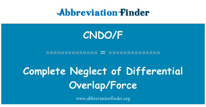 CNDO/F: Complete Neglect of Differential Overlap/Force