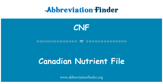 CNF: Canadian Nutrient File