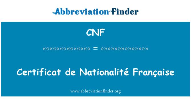 CNF: Certificat de Nationalité Française