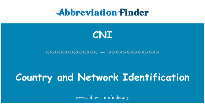 CNI: Country and Network Identification