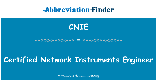 CNIE: Certified Network Instruments Engineer