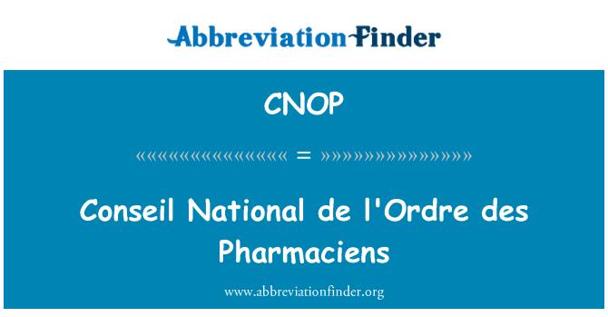 CNOP: Conseil National de l'Ordre des Pharmaciens