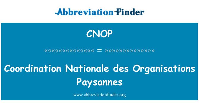 CNOP: Coordination Nationale des Organisations Paysannes