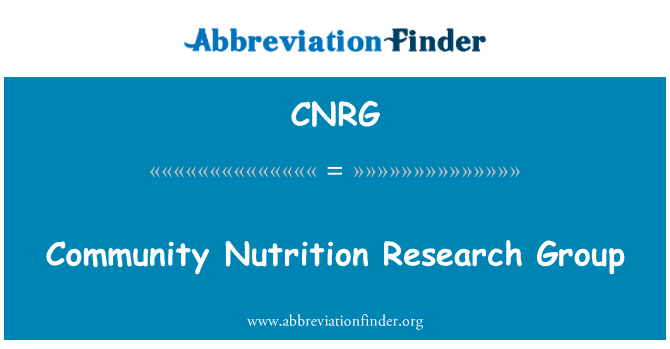 CNRG: Community Nutrition Research Group