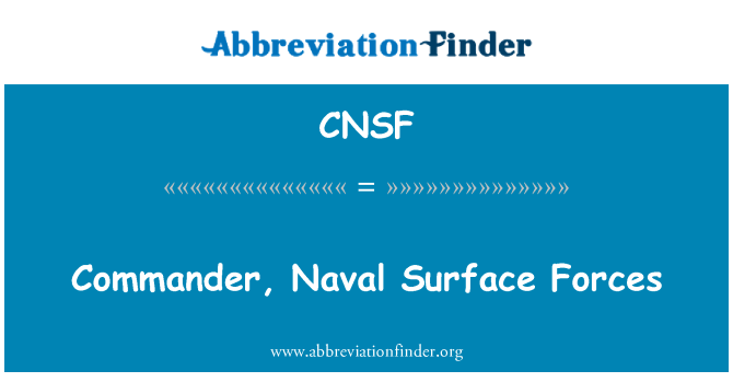 CNSF: Commander, Naval Surface Forces