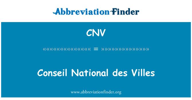 CNV: Conseil National des Villes