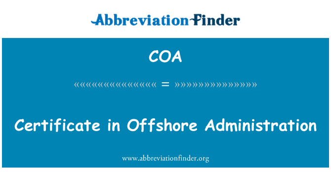 COA: Certificate in Offshore Administration