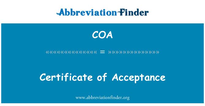 COA: Certificate of Acceptance