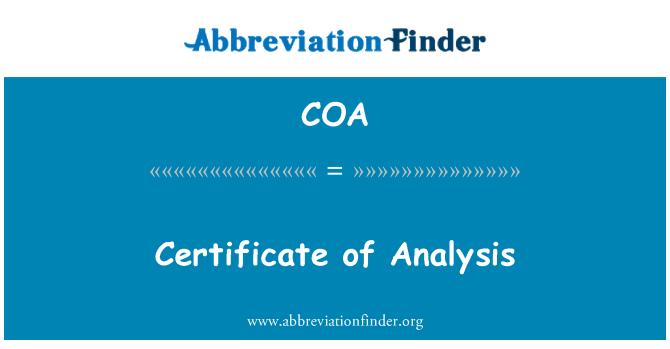 COA: Certificate of Analysis