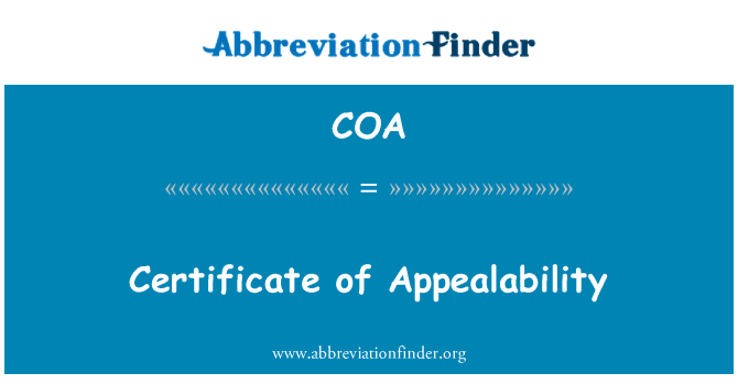 COA: Certificate of Appealability