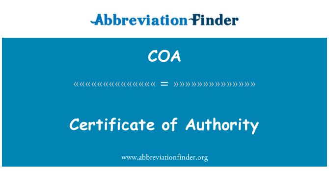 COA: Certificate of Authority